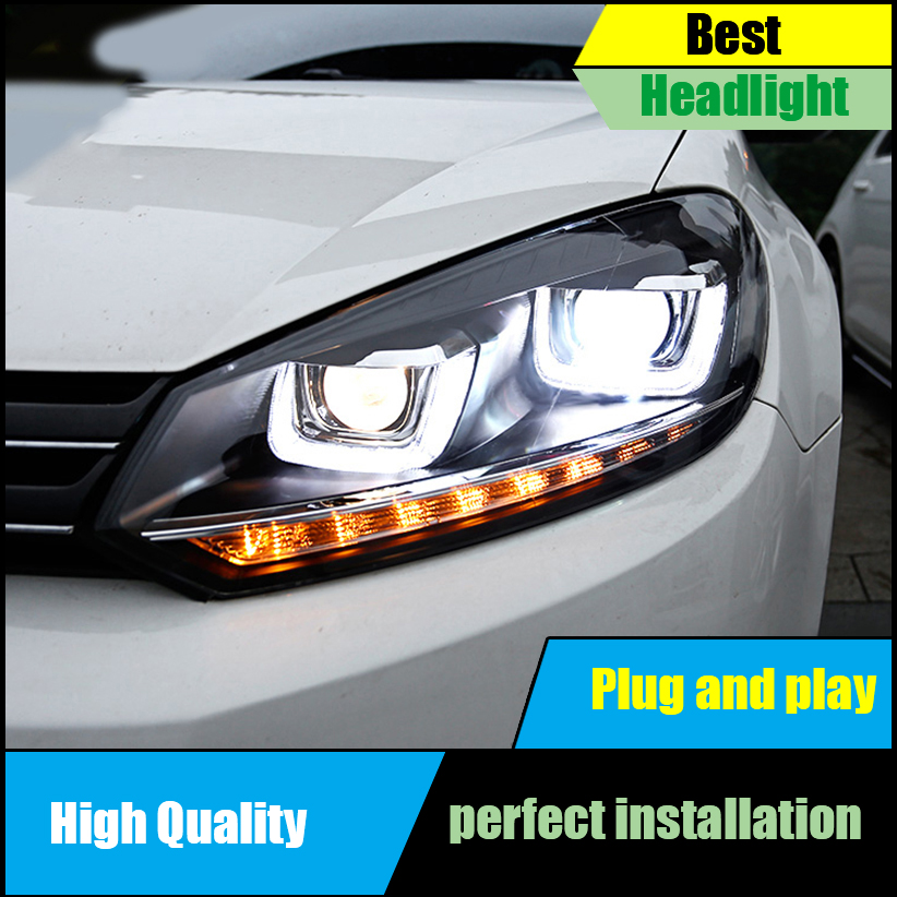 Car styling Front light for VW Golf 6 Mk6 Headlight Assembly LED Headlights LED DRL Moving Turn Signal HID Bi Xenon Head Lamp