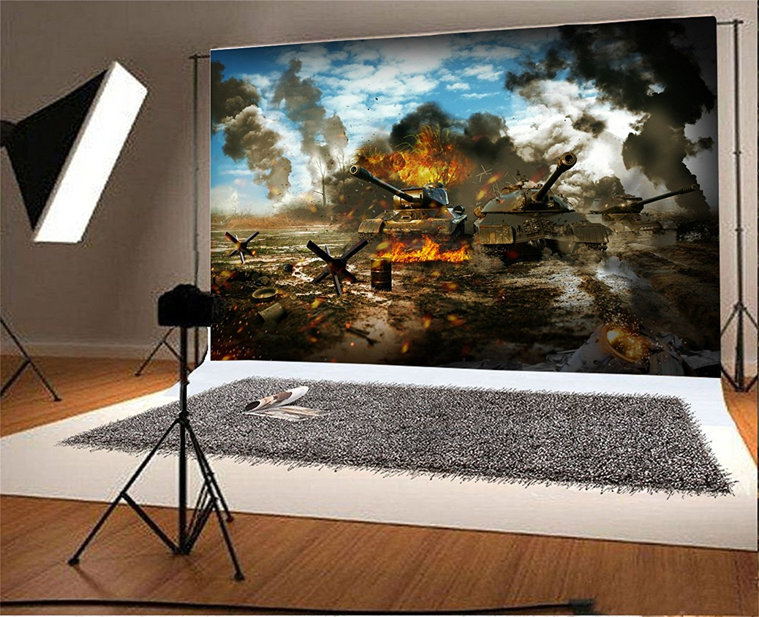 blue sky white clouds battle Tank war zone Fire Background Vinyl cloth High quality Computer print wall photo backdrop