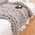 Handmade Chunky Knitted Blanket Thick Yarn Acrylic Wool Bulky Knitted Blanket Warm Winter Sofa Bed Home Decor Throws Blankets