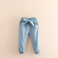 Cotton Baby Girls Leggings Casual Kids Denim Pants Elastic Waist Toddler Baby Trousers Spring Autumn 2
