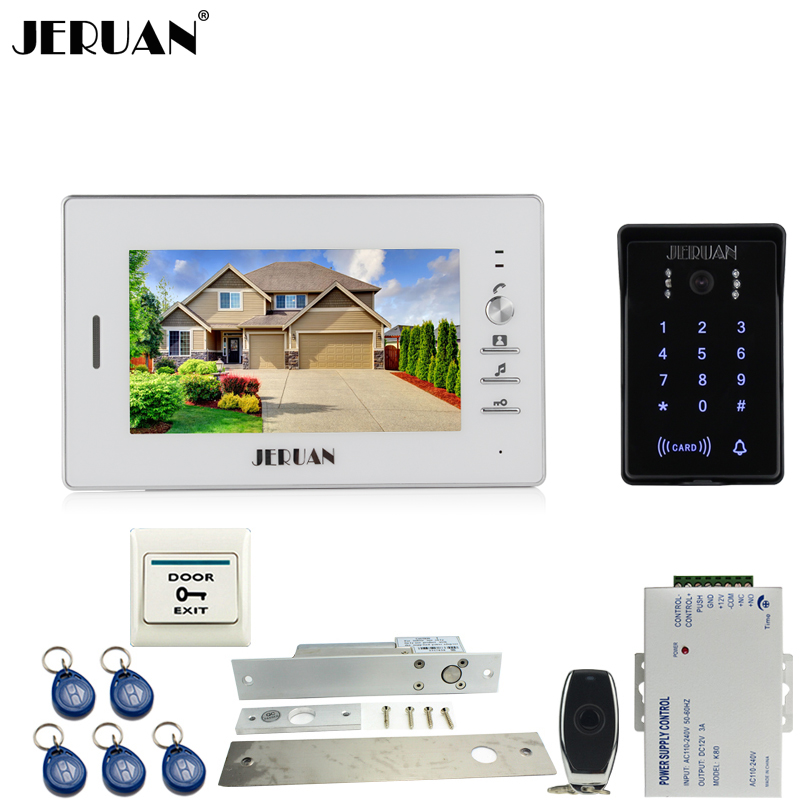 JERUAN 7 inch video door phone intercom system kit RFID waterproof touch key password keypad COMS Camera + power + E-lock jeruan 8 inch tft video door phone record intercom system new rfid waterproof touch key password keypad camera 8g sd card e lock