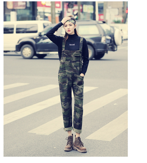 Pure cotton plus size women denim overalls camouflage jeans quality European style fashion leisure loose girls harem Pants D206