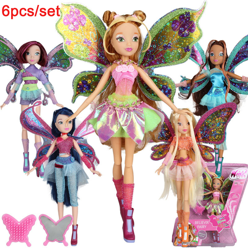 6pcs set Winx Club Doll rainbow colorful girl Action Figures Dolls with Wing and Mirror Comb