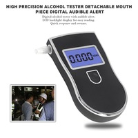 High Precision Alcohol Tester LCD Display Screen Detachable Mouth Piece Digital Breath Alcohol Detector Audible Alert