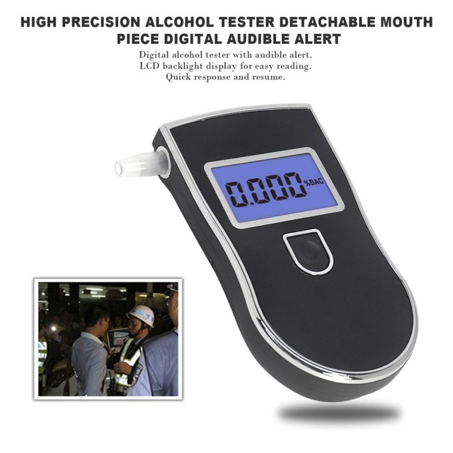 High Precision Alcohol Tester LCD Display Screen Detachable Mouth Piece Digital Breath Alcohol Detector Audible Alert Hot Sale