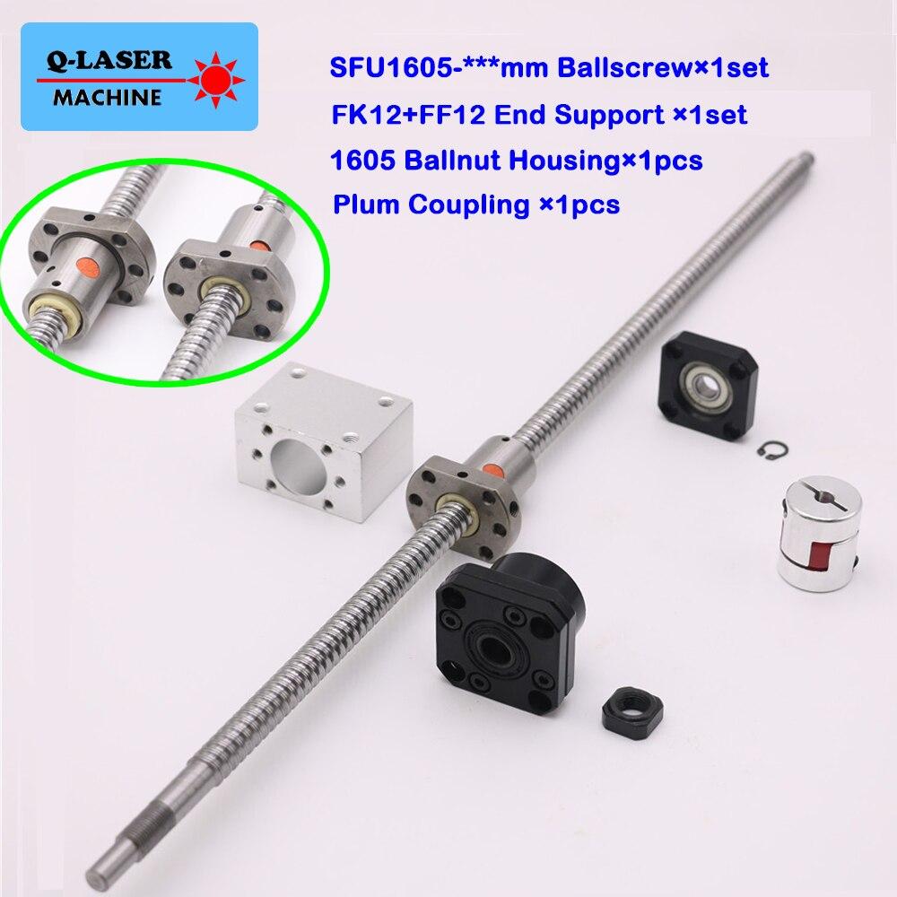 SFU1605 Ball Schraube Linear Set C7 Ballnut Mutter Gehäuse FK12 FF12 Feste Schwebte Ende Unterstützung Plum Kupplung für CNC Maschine teile