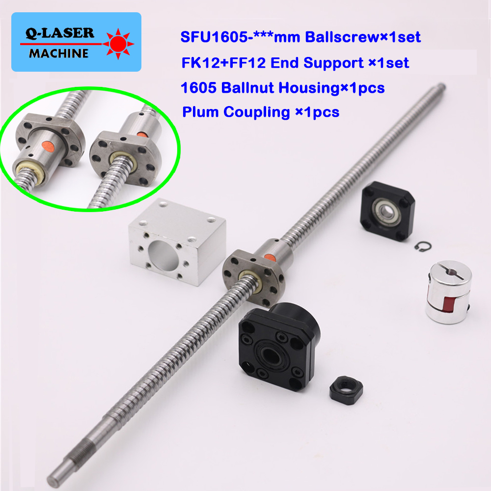 SFU1605 Ball Screw Linear Set C7 Ballnut Nut Housing FK12 FF12 Fixed Floated End Support Plum Coupling for CNC Machine Parts 1set fixed side fk12 floated side ff12 ball screw end supports