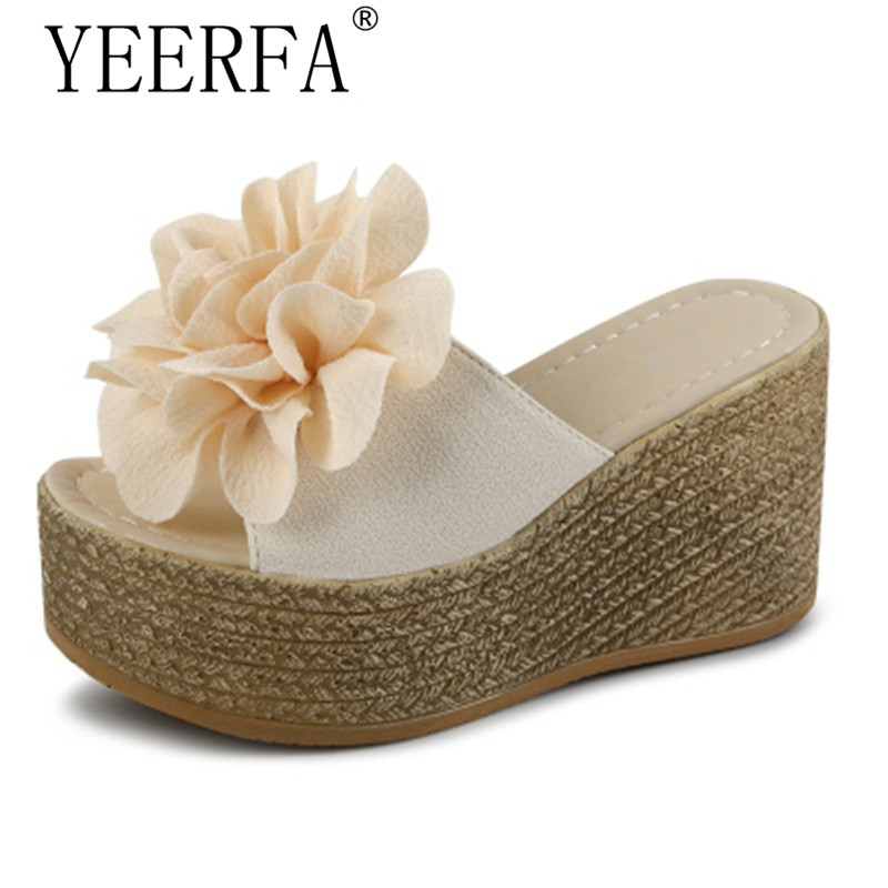 YEERFA hot Summer Platform Wedges Flip Flops Women Flowers Beach Sandals Fashion Casual Mid Heels Shoes Bohemian Slippers Black