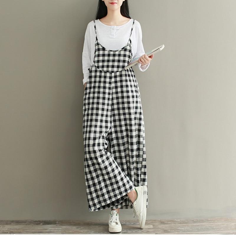 2019 Autumn New Linen Black White Plaid   Pants   Women Loose Ankle Length   Pants     Wide     Leg     Pants   Vintage Overalls Strap Trousers