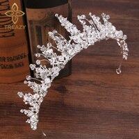 TREAZY Handmade Bridal Bridesmaid Wedding Tiara Headdress Crystal Floral Crowns Tiaras Princess Queen Wedding Hair Accessories