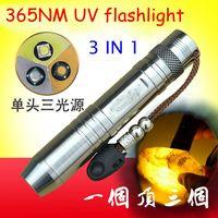 3 en 1 fuente de luz UV Led 365nm Linterna Q5 joyas de piedra de jade 365nm violeta lámpara de fluorescencia
