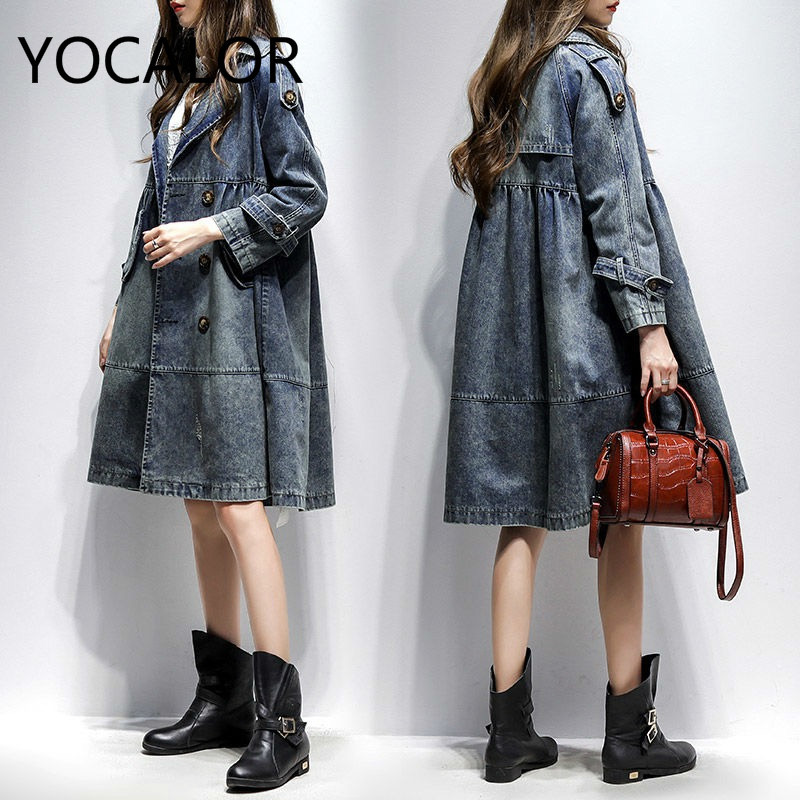 Cowboy Loose Trench Coat For Women Woman Long Sleeve 2019 Windbreaker Jacket Casacos Feminino Manteau Femme Moda Mujer Clothes-in Trench from Women's Clothing    2