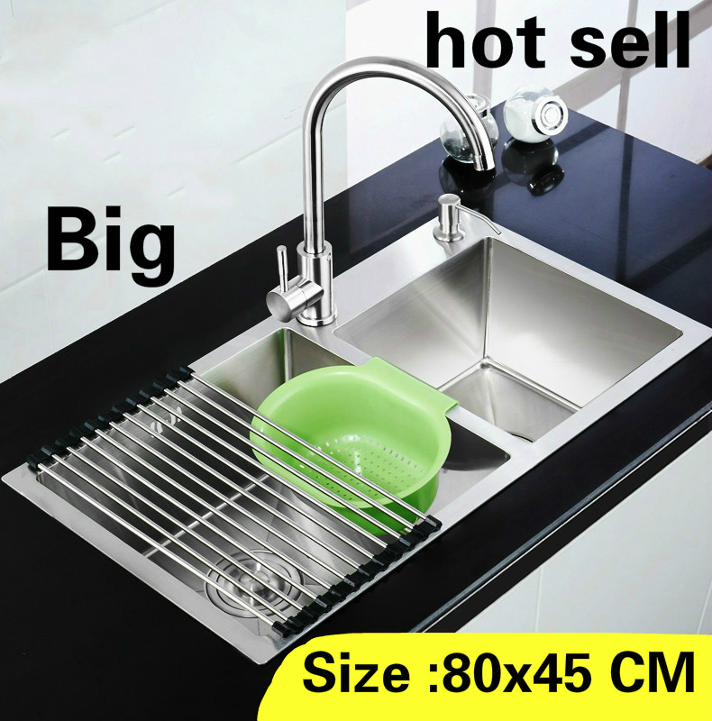 Free Shipping Apartment Vogue Large Kitchen Manual Sink Double Groove Standard 304 Stainless Steel Hot Sell 800x450 MM
