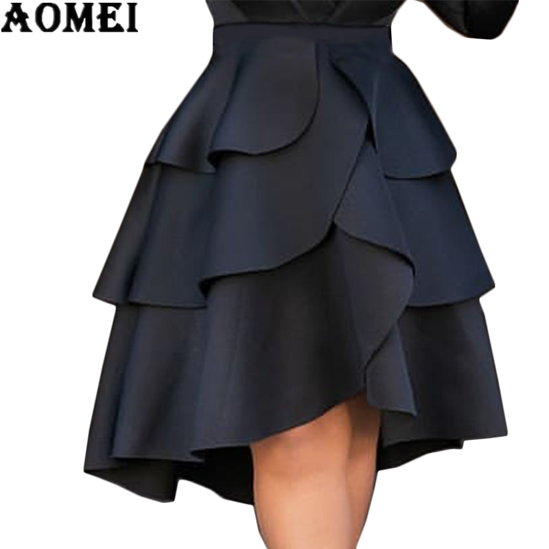 Women Skirt High Waist Layers Ruffles A Line Ball Gown Skirts Party Evening Female Lolita Jupes Solid Falads Elegant Femme 2019