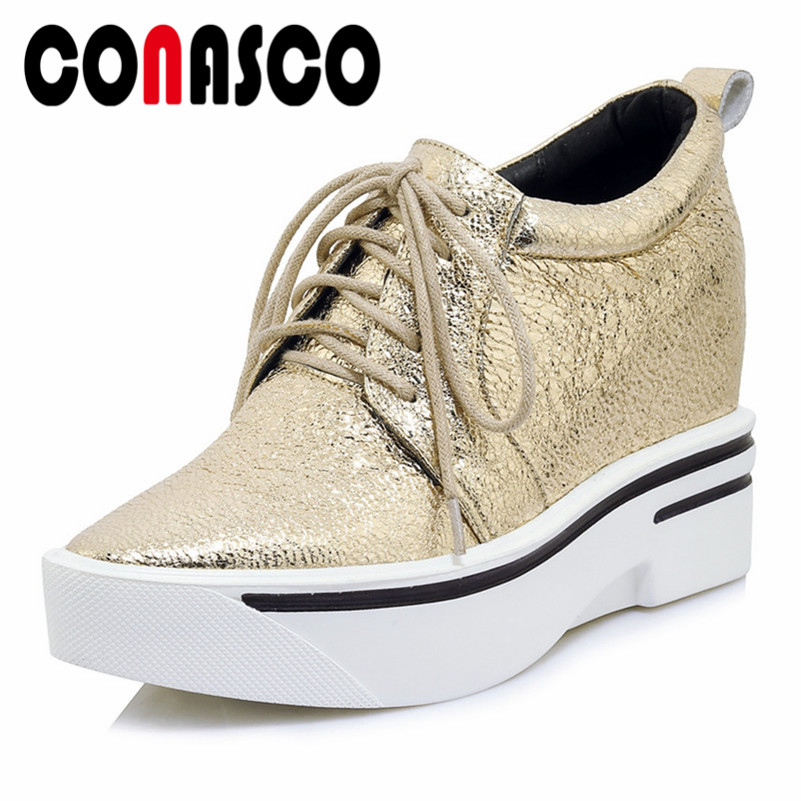 CONASCO Fashion Brand Basic Pumps Wedges High Heeled Platforms Gold Silver Wedding Party Shoes Woman Female Corss-tied ShoesCONASCO Fashion Brand Basic Pumps Wedges High Heeled Platforms Gold Silver Wedding Party Shoes Woman Female Corss-tied Shoes