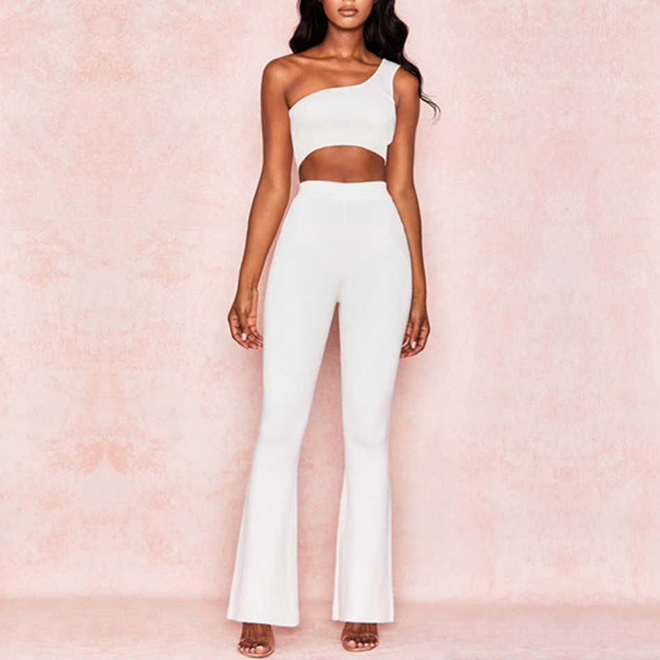 Adyce 2019 New Summer Women Club Bandage Set White Top&Pant 2 Two Pieces Set One Shoulder Sleeveless Celebrity Evening Party Set