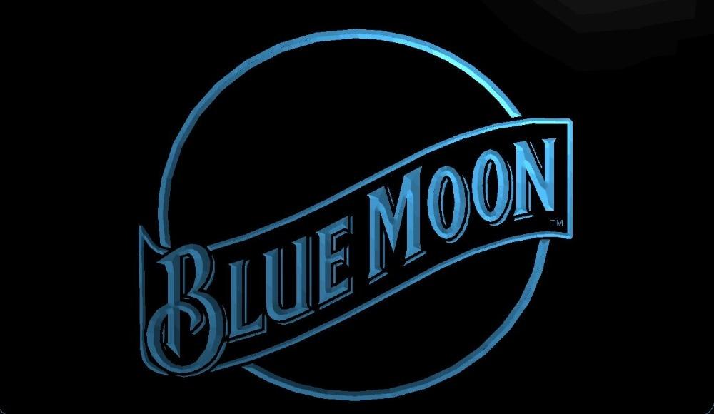 LS104 b Blue Moon Beer Bar Pub Club 3D LED Neon Light Sign