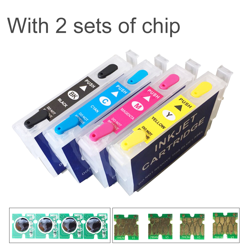 купить For Epson T2971 Refillable Ink Cartridge For Epson XP231 XP431 XP-241 inkjet Printer Cartridge With 2 Sets of One Time Chips по цене 3186.6 рублей