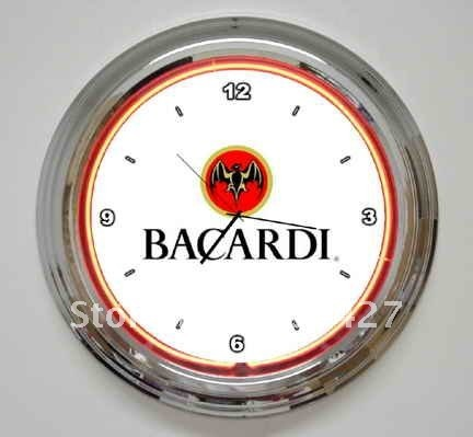 Bacardi Rum Bat WHITE Neon Clock