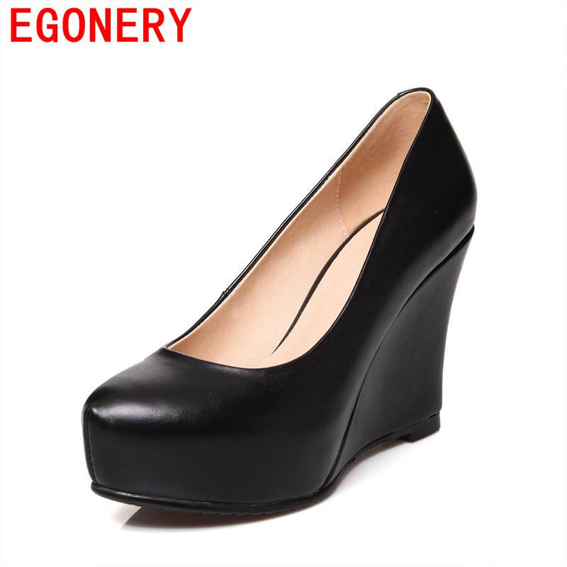 EGONERY women pumps 2017 genuine leather wedges round toe modern concise shallow office retro shoes solid slip-on spring shoes
