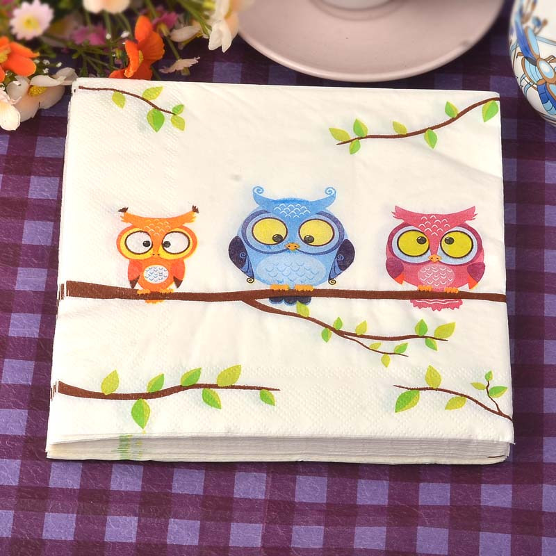 2017 New 33*33cm 20 PCS/Pack Kids Owl branch Paper Napkin Party 100% Virgin Wood Paper Napkin for party dinner decoration