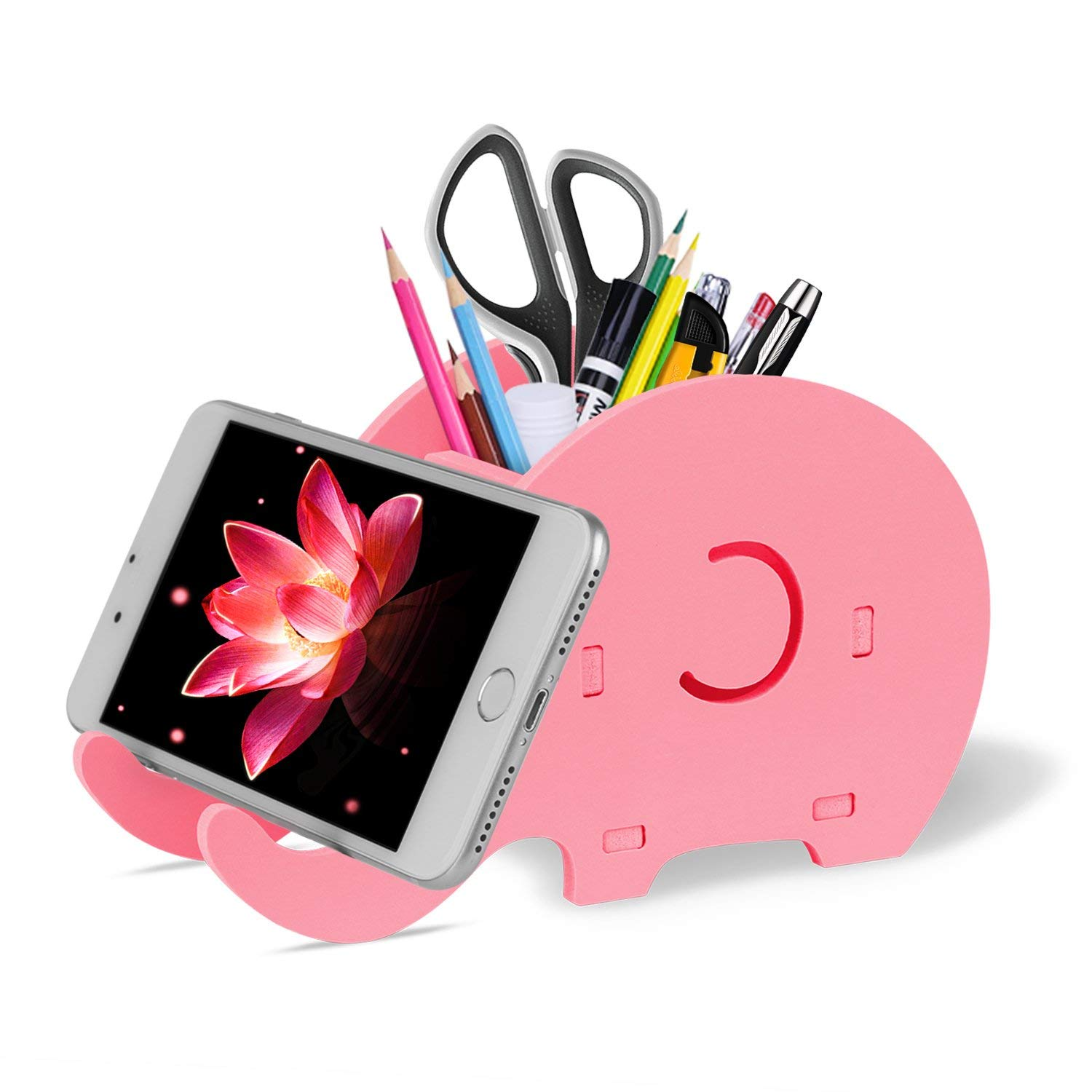 Cell Phone Stand Cute Elephant Phone Stand Tablet Desk Bracket With Pen Pencil Holder Compatible Smartphone Desk Decoration Mu