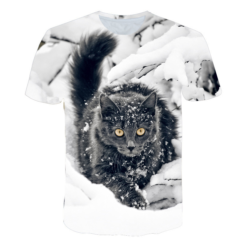2019 Brand Funny Tshirt Men Fashion 3D Printed Cute Cat T-Shirts Short Sleeve O-Neck Tee Shirts Streetwear Male Tee Tops