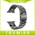 Нержавеющая Сталь Ремешок для Часов iWatch Apple Watch/Спорт/издание 38 мм 42 мм Запястье Браслет Ремешок с адаптером Черный серебро