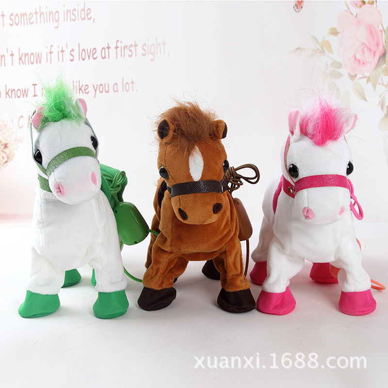 Electronic Horse Robot Horse Interactive Leash Plush Animal Pet Toy Walk Whinny Songs Music Toys For Children Birthday Gifts