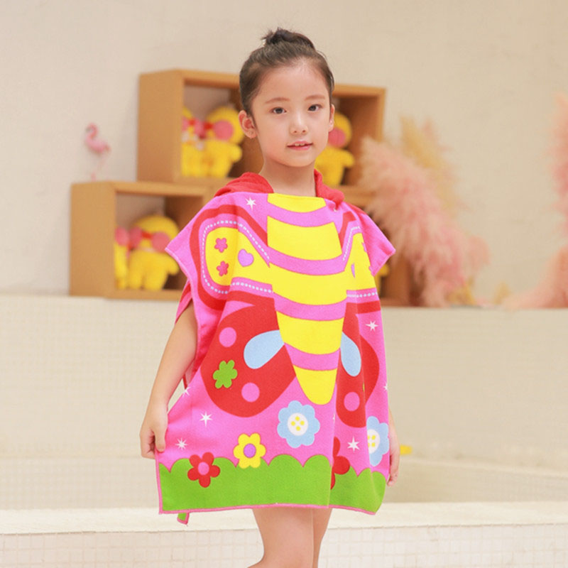 Cute cartoon hooded children s beach towel robes printed boys and girls animal pattern children swimming