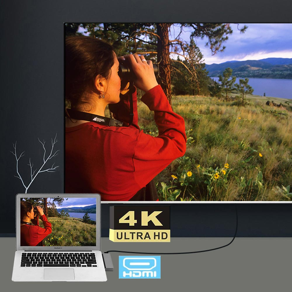 Ingelon multi usb3.0 otg usb hub USB C to HDMI 7in1 Thunderbolt 3 Adapter for MacBook Pro 13 and 15 Double Type C usb 3.0 hub (3)