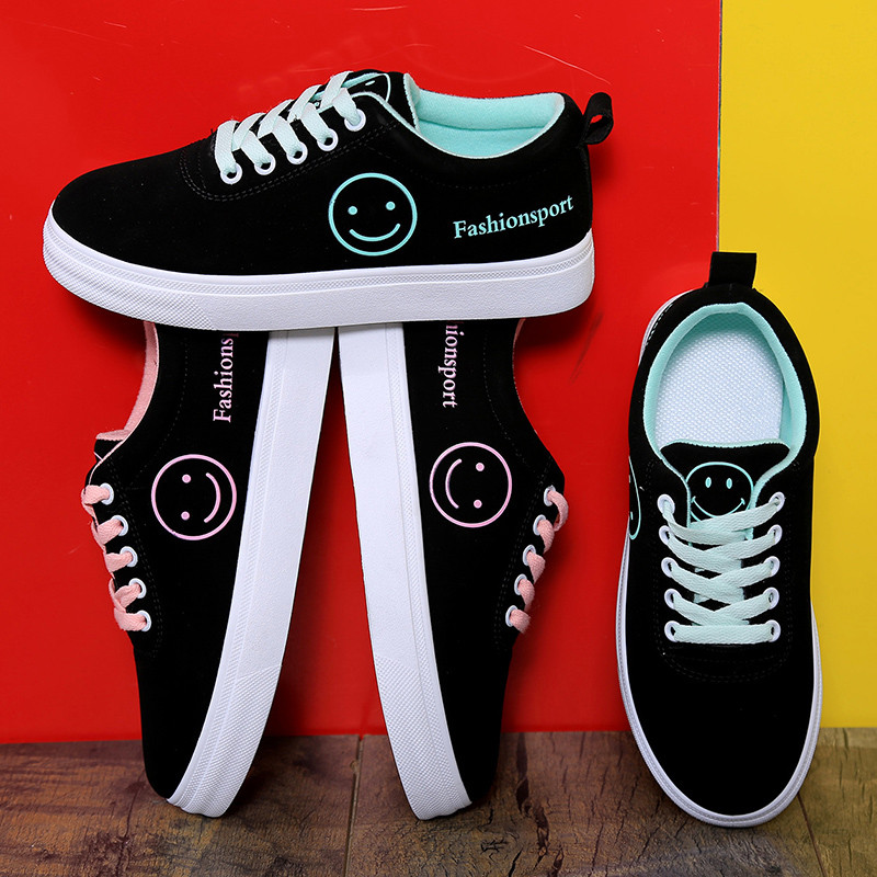 Women Canvas Shoes 2019 Summer Autumn Apartments Women Shoes Lace Up Classic Smiley Face Low-top Fashion Women's Sneakers