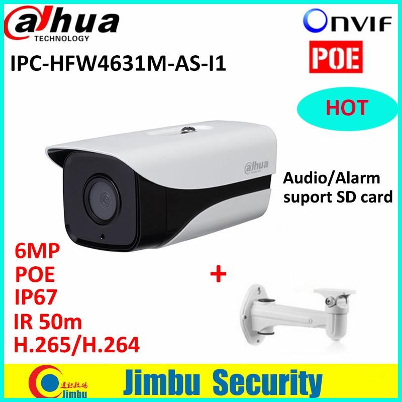 Dahua IPC-HFW4631M-AS-I1 6MP H.265 Full HD Network IR Mini Camera POE cctv network bullet IPcamera with bracket
