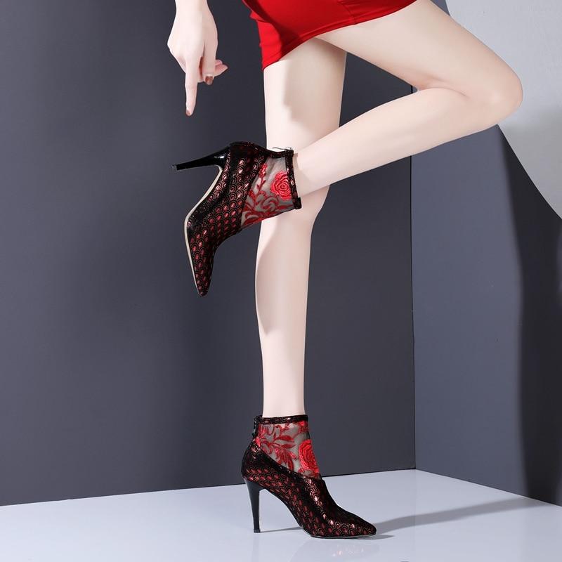 Mujeres Cuero Cómodas Zapatos Puntiagudo Rojo rojo Moda Dedo Tacón Azul Ocio Del Alto Pie De Botas Autuspin Mujer Las Fiesta 1YtXAxn