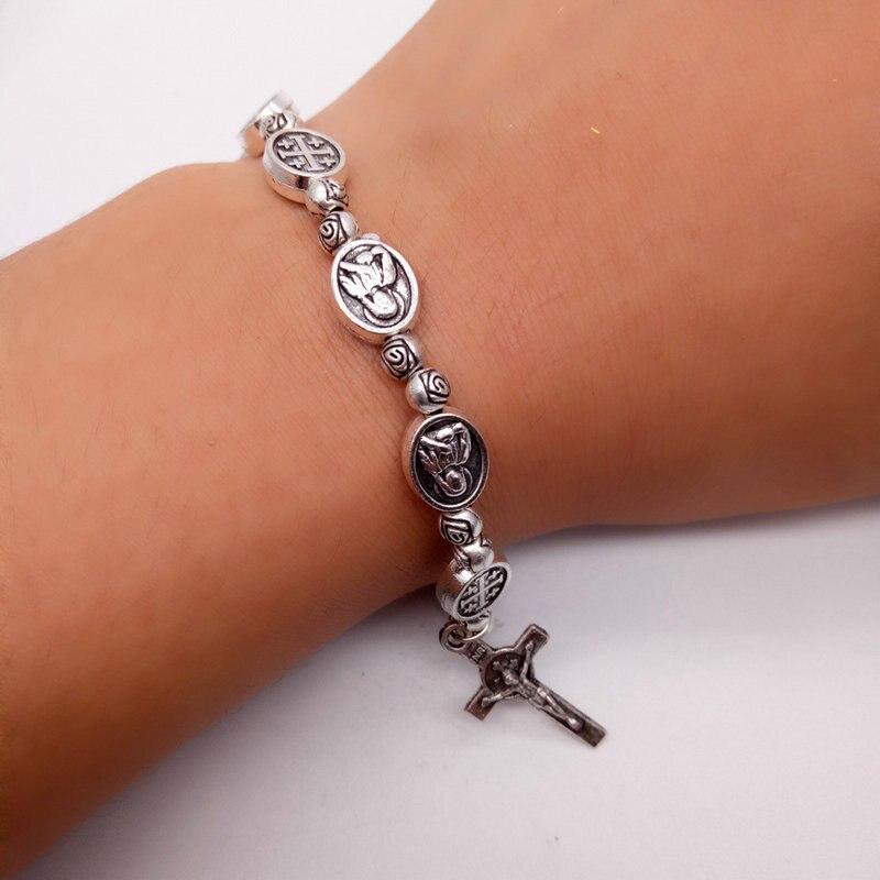 Bracelet Jewelry Fitness-Chain Handmade Women Prayer Cross Beaded Couple Gif Femme