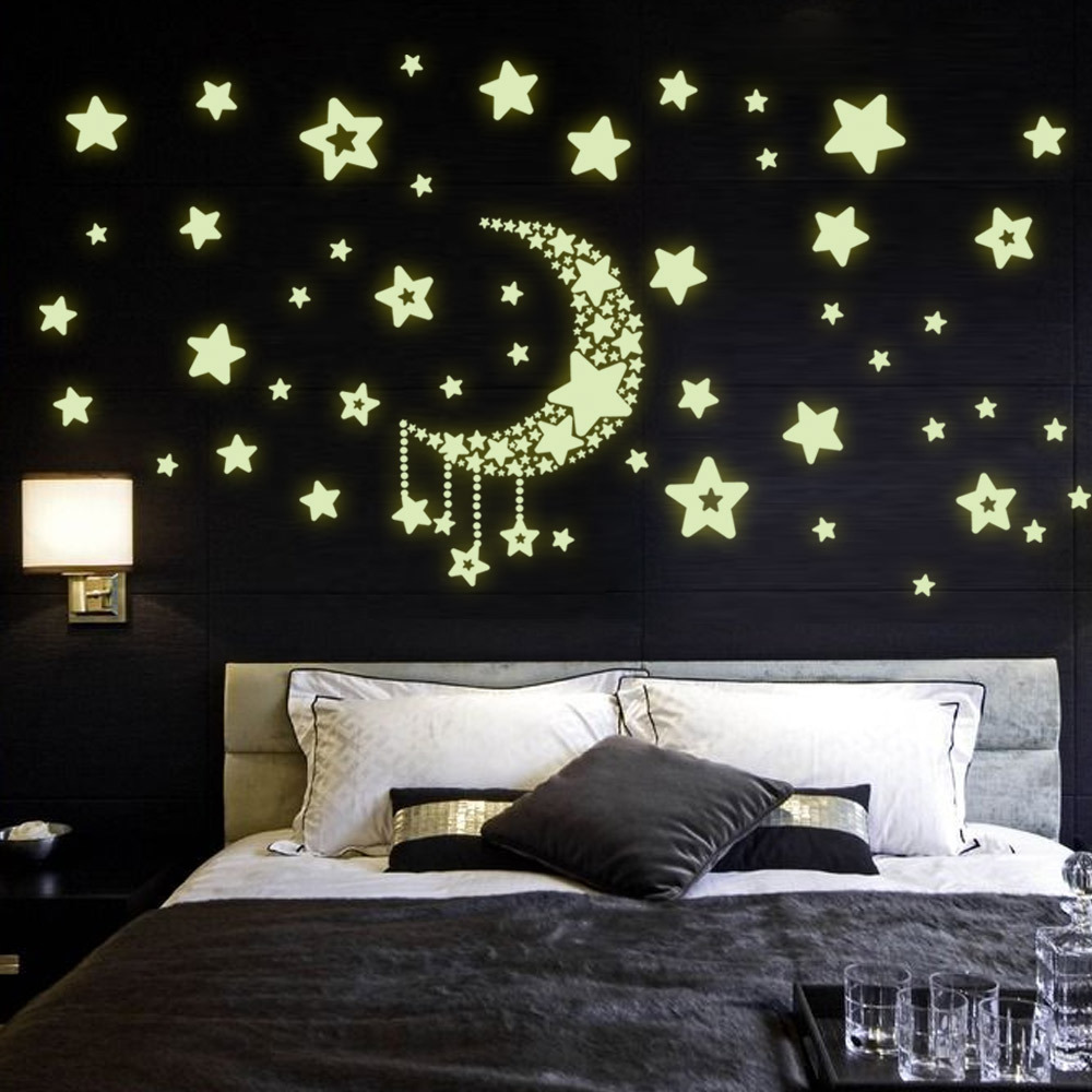 Stars Room Decor Us 6 12 Brand Authentic Y0015 Moon And Stars Put Fluorescent Luminous Living Room Bedroom Decor Wall Stickers Manufacturers Wholesale In Wall