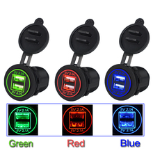 Waterproof Dual USB 12-24V 4.2A/DC  Car Ciagrette Lighter Adapter Charger Dual USB Socket with 2 Aperture For Vehicle Voltmeter car usb waterproof charger dual usb 12v 24v 3 1a ship type dual usb car charger voltmeter adapter for samsung iphone