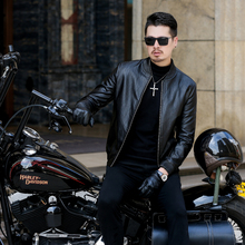 mens jacket PU Leather moto coat rib collar soft high quality solid color fashion smooth 1819