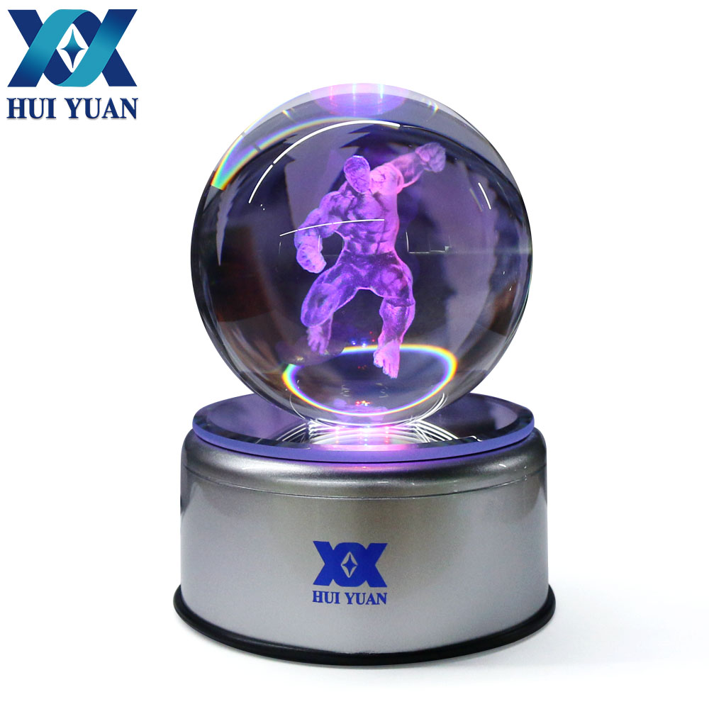 The Hulk 8CM Crystal ball Desktop Decoration Light Glass Ball LED Colorful Base Lamp for Decorative Gift by HUI YUAN Brand superman 3d crystal ball lamp desktop decoration glass ball night light led colorful rotate base funny gift hui yuan brand