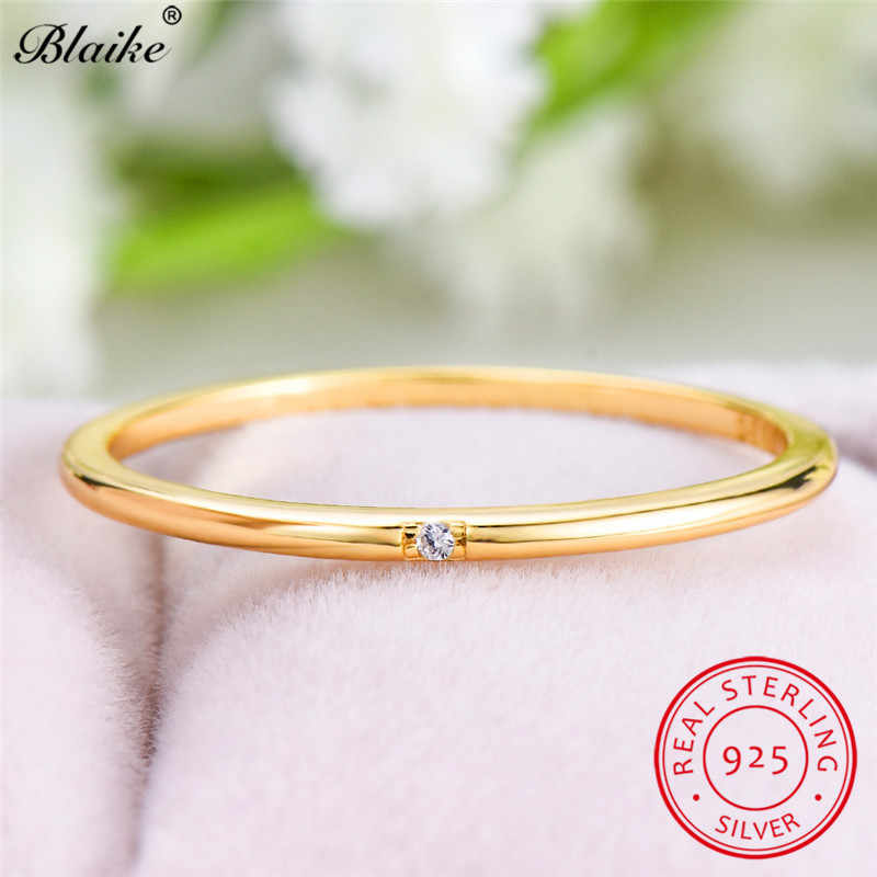Minimalist s925 Sterling Silver Rings For Women CZ Single Stone Thin Ring Wedding Bands Girls Daily Stacking Ring Fine Jewelry