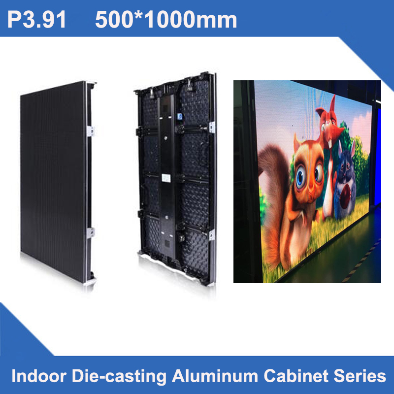 TEEHO P3.91 SMD Indoor 500*1000 LED Display DieCasting Cabinet Panel Indoor Led Video Rental Advertising Wedding Hotel Stadium