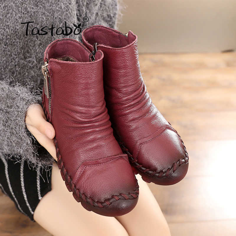 Tastabo Kışlık Botlar Kadınlar Hakiki Deri yarım çizmeler Içinde Peluş El Yapımı Lady yumuşak düz ayakkabı Rahat kadın ayakkabısı