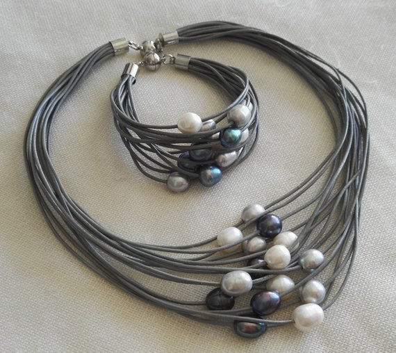 Unique Pearls jewellery Store 15 strands gray color leather rope Multicolor Freshwater Pearl Necklace Bracelet Jewelry SetUnique Pearls jewellery Store 15 strands gray color leather rope Multicolor Freshwater Pearl Necklace Bracelet Jewelry Set