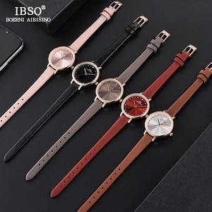 Image 5 - IBSO Brand Luxury Ladies Quartz Watch Leather Strap Montre Femme Fashion Women Wrist Watches Relogio Feminino Female Clock