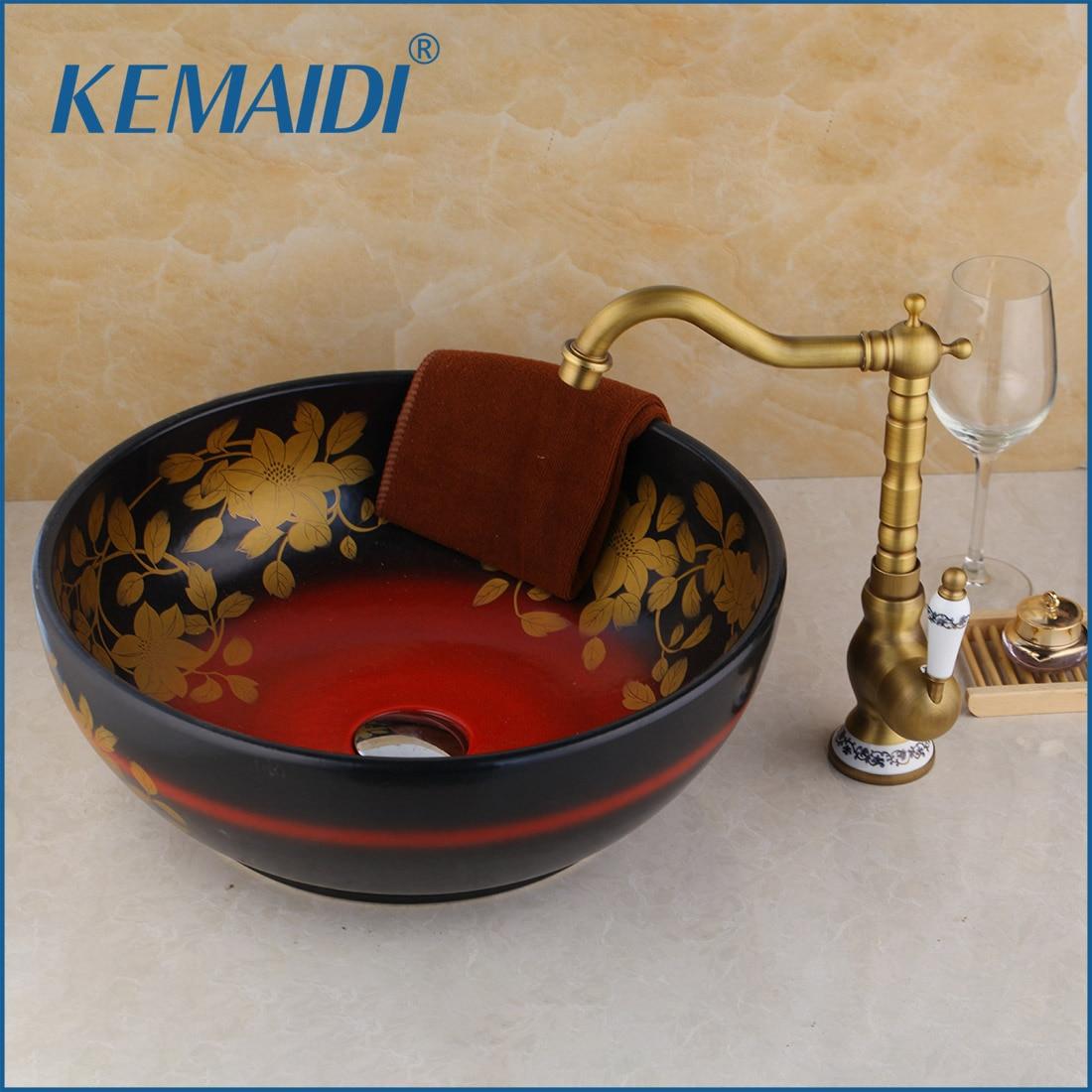 KEMAIDI En Céramique lavabo Navire Évier Avec salle de bains en laiton antique Robinet Feuille Motif Comptoir lavabo éviers de salle de bain