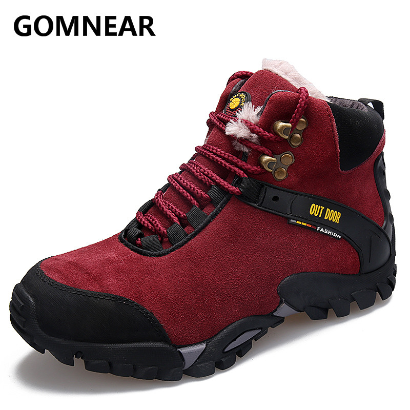 GOMNEAR 2017 Winter Warming Women Hiking Boots Outdoor Comfortable Antiskid Logging Toursim Sneakers Unique Trend HIking Shoes yin qi shi man winter outdoor shoes hiking camping trip high top hiking boots cow leather durable female plush warm outdoor boot