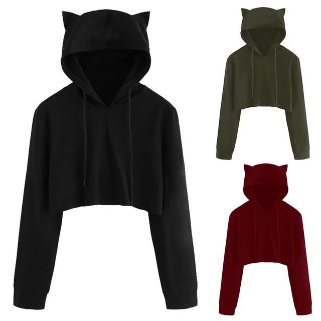 2ef8e1a1d2e08 CALOFE Cute Womens Sweatshirts Hoodie Crop Tops Solid Cat Ear Long Sleeve  Cropped Sweatshirt Hooded Pullover Tolstovka Wholesale