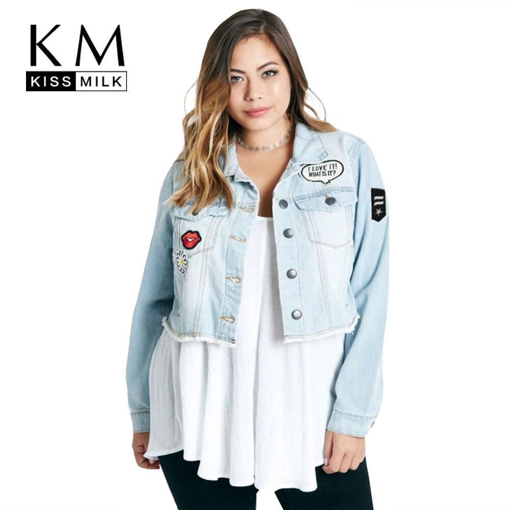 Kissmilk Women Plus Size Short Denim Jacket Coats with Patches Button Down Basic <font><b>Jean</b></font> Big Size Outfits 6XL
