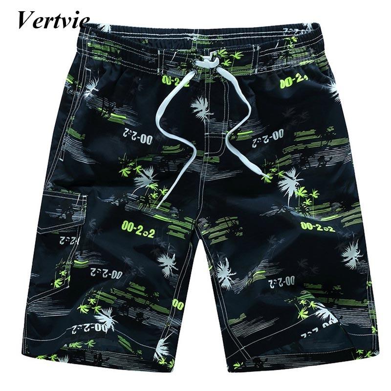 Vertvie Summer Quick Dry Beach Shorts Men Printed Swim Board Shorts Surfing Beach Shorts Plus Size Shorts Pocket Clothing
