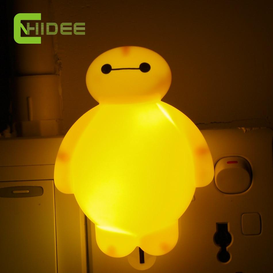 US Plug Cute Baymax LED Night Light Switch Control Children Baby Bedroom Wall Lamp Luz de Noche AC 110V/ 220V 0.6W